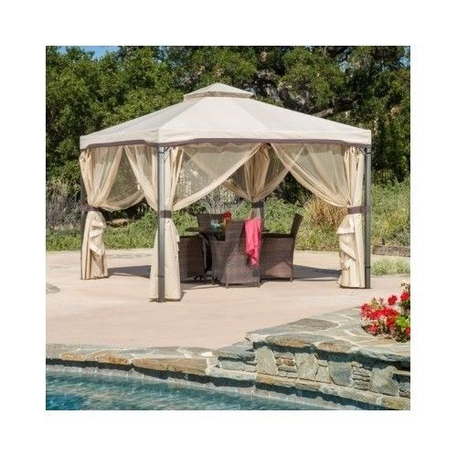 Outdoor Gazebo With Netting Canopy 10x10 Tent Pergola Patio Garden Screen House #HomeLoft