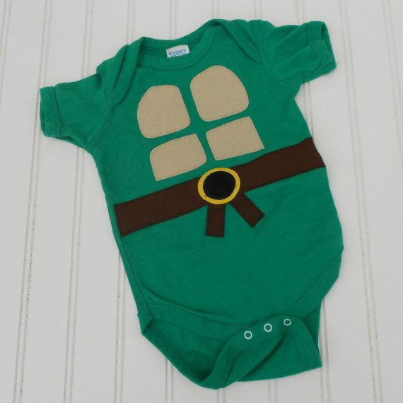 Great Baby Shower gift Ready to Ship Onesie Teenage Mutant Ninja Turtles TMNT sewn cotton applique