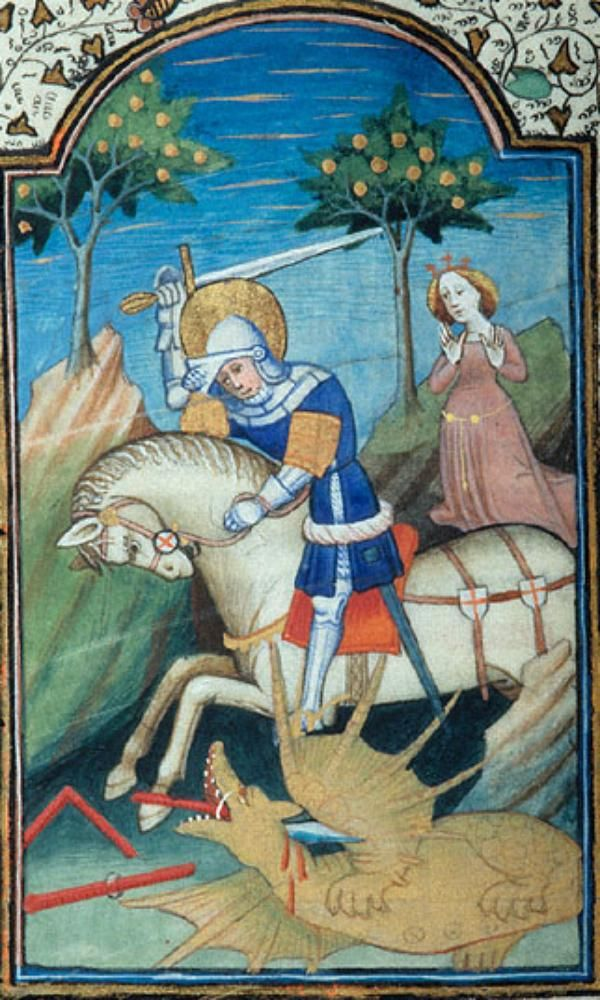 St. George and the Dragon. Book of Hours, c. 1420 (Flemish, perhaps Ghent), with additions in England, c. 1420. Morgan M.46, fol 27v. The Morgan Library, New York