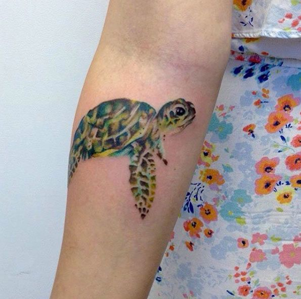 Watercolor sea turtle on forearm by Looking Glass Tattoos