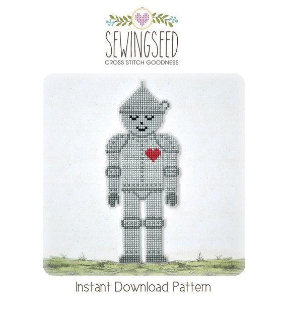 Tin man cross stitch pattern, Wizard of Oz Instant Download | Punto ...