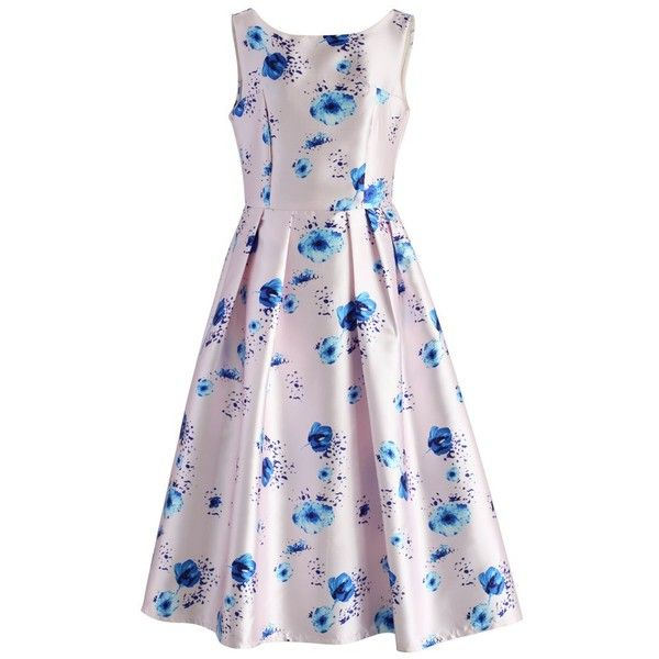 Chicwish Pastel Symphony Floral Prom Dress (£46) ❤ liked on Polyvore featuring dresses, pink, pastel prom dresses, flare dress, floral prom dresses, pink dress and prom dresses