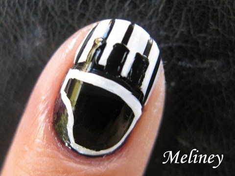 Nail Art Tutorial - Piano Keys Music black and white French Tip Design for short nails