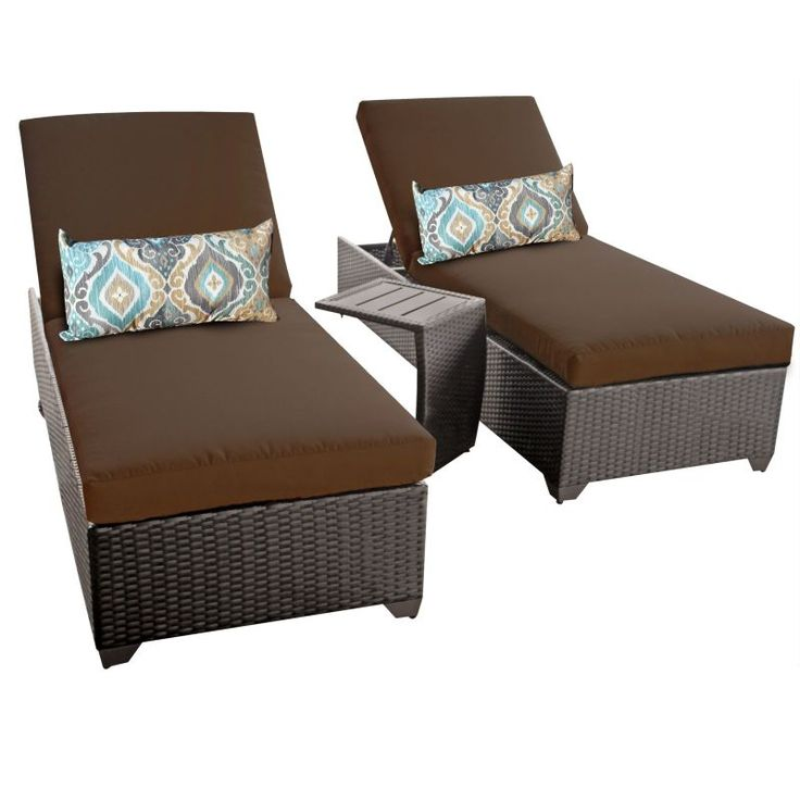 Miseno MPF-CLASC2X-ST Traditions 3-Piece Aluminum Framed Outdoor Chaise Lounge C Cocoa Furniture Outdoor Furniture Outdoor Lounge Chairs