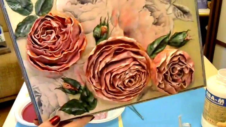 Елена Васько. Ватные розы. Часы-панно. Вебинар