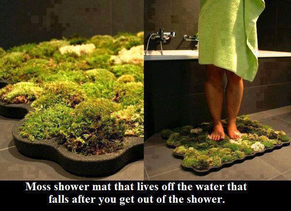 Tapete de musgos, para absorver a água que sobra no corpo após o banho.