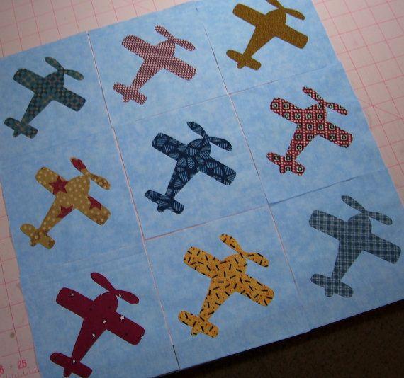 Set Of 9 Airplane Applique Quilt Blocks By Sassadoodle On