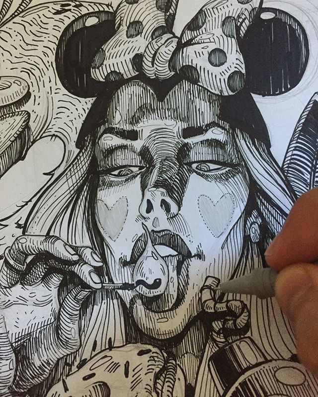 In progress on new illustration💥👩🏻💣 #illustration #ink #erase #girl #sexy #burnbabyburn #burn #match #drawing #A3 #girl #portrait #black