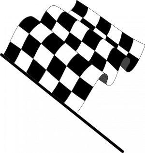PublicDomainVectors.org-Vetor desenho de uma bandeira quadriculada (versão plana), simbolizando o fim de uma corrida de carros. Ilustração a preto e branco de um sinal utilizado na Fórmula 1.