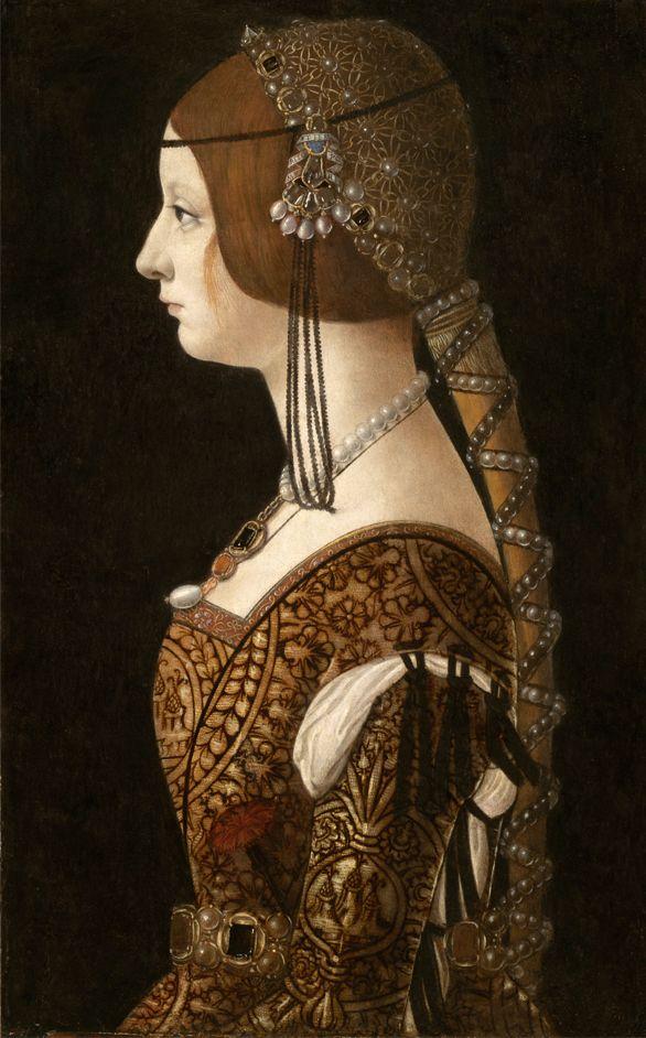 1493: Portrait of Bianca Maria Sforza,by Giovanni Ambrogio de Predis.  This looks like Juliet's dress for the masque in Zeffirelli's Romeo and Juliet.
