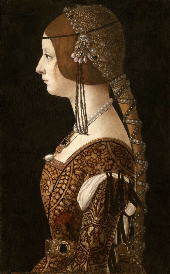 1493: Portrait of Bianca Maria Sforza,by Giovanni Ambrogio de Predis.  This looks like Juliet's dress for the masque in Zeffirelli's Romeo and Juliet.