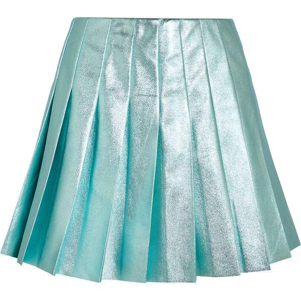 Miu Miu Miu Miu - Pleated Metallic Leather Mini Skirt - Turquoise (€1.990) ❤ liked on Polyvore featuring skirts, mini skirts, leather mini skirt, short leather skirt, leather skirt, metallic mini skirt and blue mini skirt