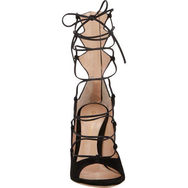 Gianvito Rossi Suede Lace-Up Sandals ($439) ❤ liked on Polyvore featuring shoes, sandals, heels, footwear, suede leather shoes, open toe shoes, laced shoes, laced up shoes and suede lace up shoes