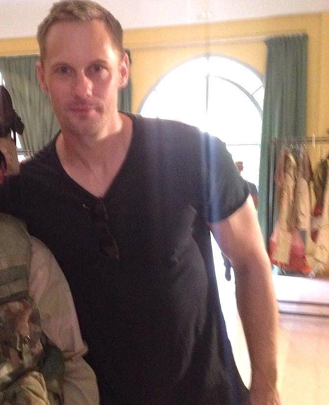 Alexander Skarsgard — Behind-the-scenes photo of Alex filming Hold the Dark in Morocco