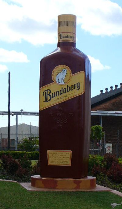 The Bundaberg Rum plant in Queensland is home to the Biggest Bottle of Bundaberg Rum - 23 feet tall!