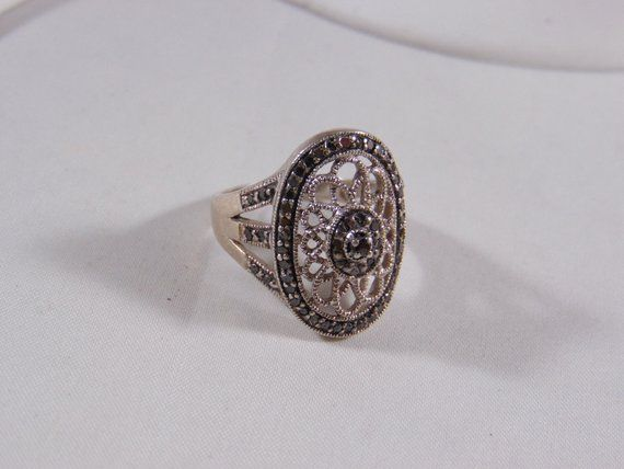 Sterling Silver Marcasite and Design Ring  Hallmark-925 -JS