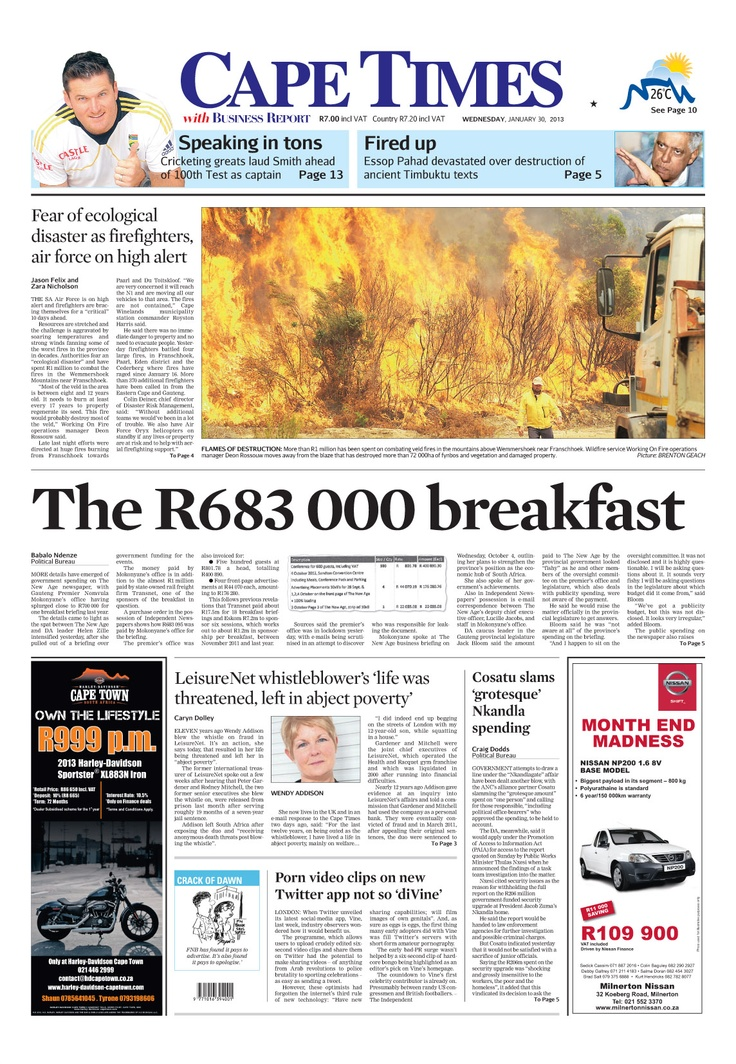 News making headlines: The R683 000 breakfast