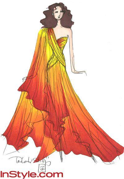 Tadashi Shoji's interpretation of Katniss's fire dress. I hope he actually creates this for some Hollywood red carpet event! Gorgeous!
