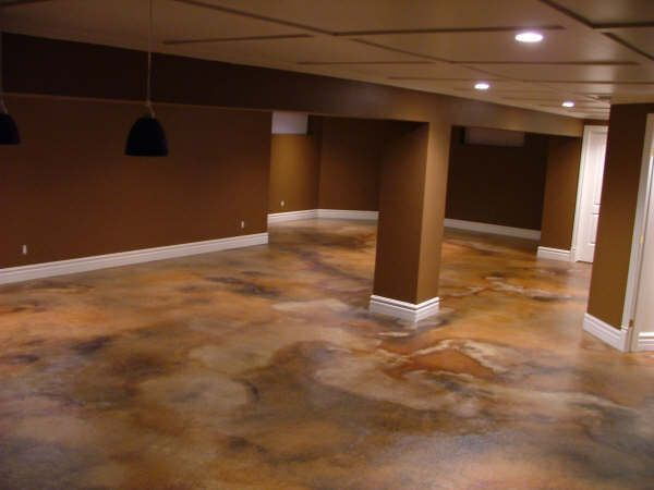 Beautiful Stain Concrete Basement