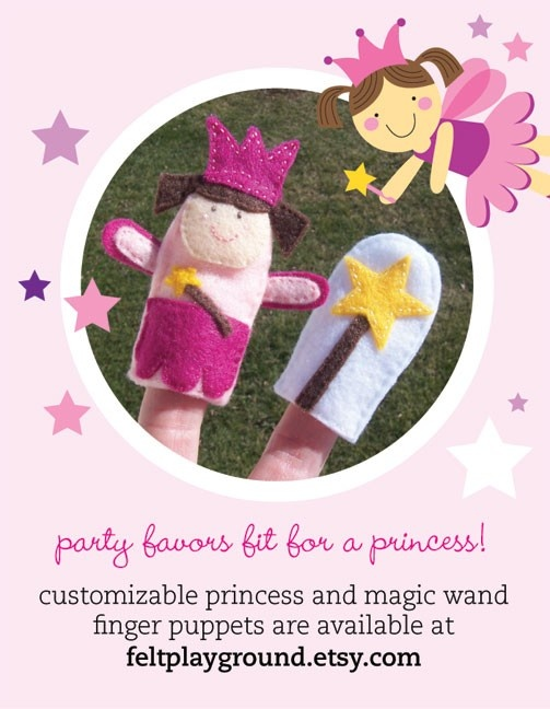 favors: princess + magic wand felt finger puppets on Etsy