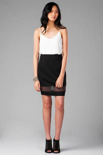 Le Mans Organza Pencil Skirt- This black midi skirt features a sheer  organza strip above the hem and will work wtih a chiffon printed top &  heels for a ...