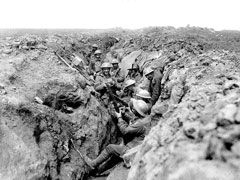 Australian soldiers in frontline trench prepare for an attack near Bullecourt, France, May 1917