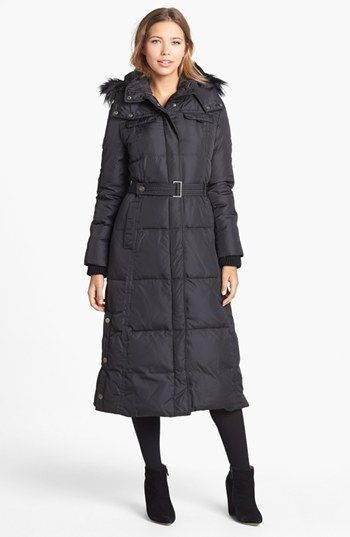 DKNY Faux Fur Trim Belted Down