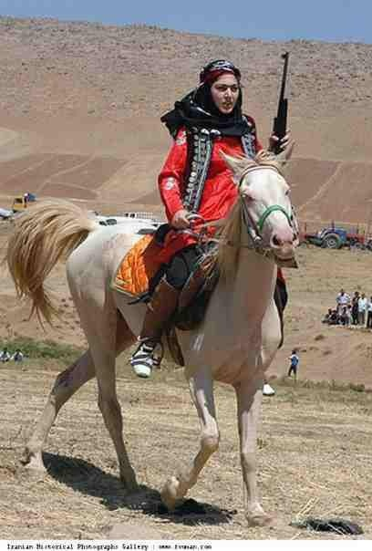 Kurdish woman on horse, probably from Kermanshah in Kurdistan region of Iran (aka eastern Kurdistan). Kurds have had a relation with horses since the time of the Medes, who were known as skillful horse-breeders. Great to see the culture being kept alive.