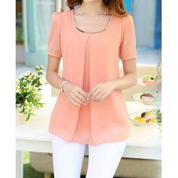 Simple Style Scoop Neck Solid Color Short Sleeve Chiffon Blouse For Women