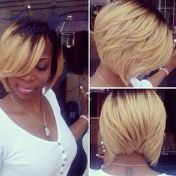 "Online Shop Hot Ombre Kanekalon Short Synthetic Hair Lace Front Wig Heat Resistant 150%-180% Density 10"" Bob Full Lace Black/platinum Wig|Aliexpress Mobile"