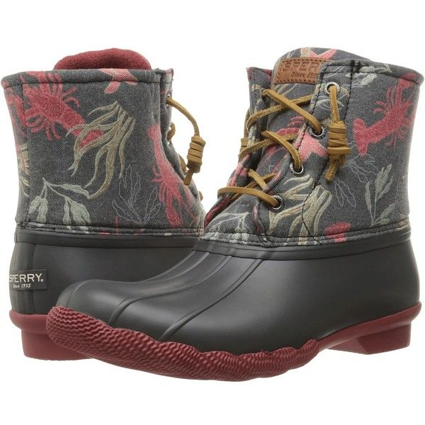 Sperry Top-Sider Saltwater Prints (Dark Grey/Creatures) Women's Rain... ($120) ❤ liked on Polyvore featuring shoes, boots, ankle boots, bootie boots, wellies boots, waterproof rubber boots, platform ankle boots and zip ankle boots