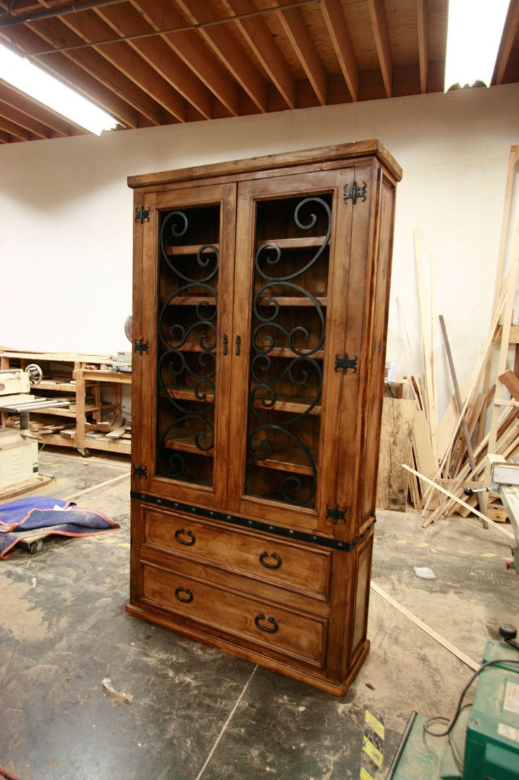 Custom Alder Kitchen Cabinet With Hand Forged Wrought Iron