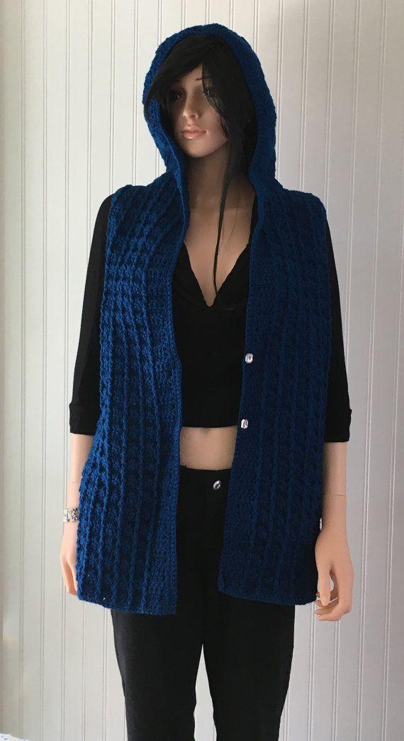 Blue woman hoody crochet boho hoody crochet by BsCozyCottageCrafts
