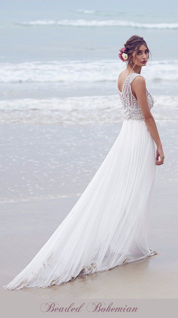 Anna Campbell MAdison Inspired Boho-chic Hand Beaded Beach Wedding Gown Copy-