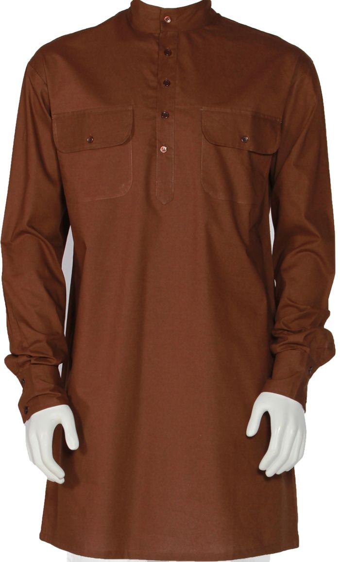 This kurta is great for everyday wear. Short collar, buttons from neck to chest and button cuffs. Fabric: Cotton Poplin