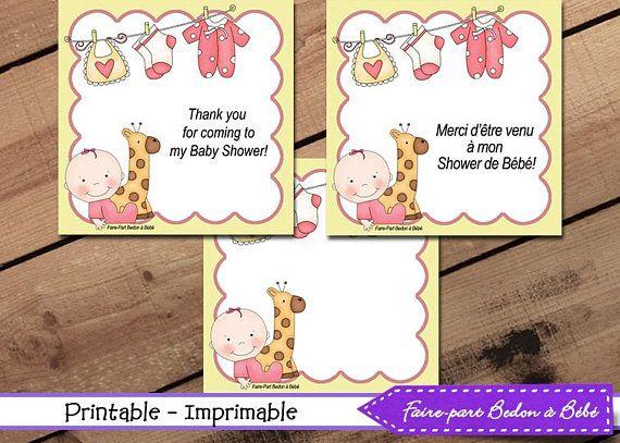 Baby Shower Tags - Little Giraffe Baby Shower tags - Printable tags  - Baby Shower Favor Tags - Gift Tags - Little giraffe baby shower