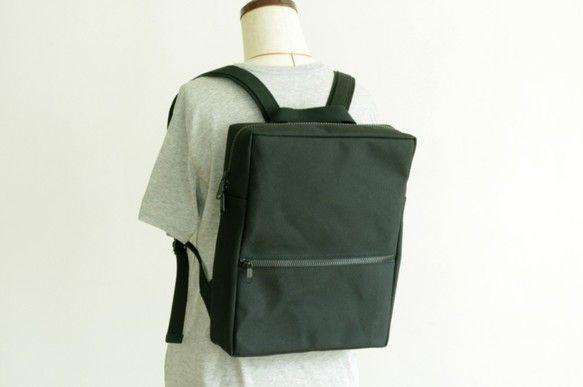 【送料無料】スクエアリュック マチ8cm 黒 / 帆布|リュック・バックパック|aoya bags|ハンドメイド通販・販売のCreema