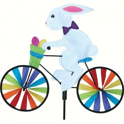 20 inch Bunny Bicycle Spinner.  These 20 inch bikes are a spinoff from the larger 30 inch bikes. Made from the same sturdy material and built to last. #bikespinner #bunny #windspinner #windspinners #gardendecor #yarddecor