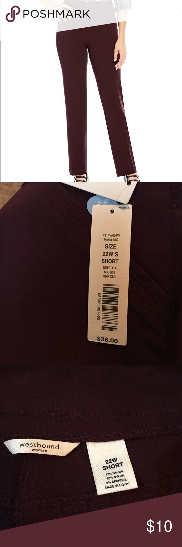 Size 22W short trouser New with tags Westbound Woman Merlot straight leg pant. Westbound Woman Pants Straight Leg