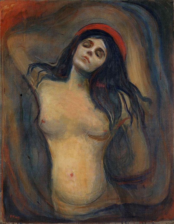 """Madonna o La Madonna es una pintura del pintor expresionista noruego Edvard Munch. Munch pintó cinco versiones diferentes de la Madonna en 1894 y 1895, todas al óleo sobre lienzo. Una de las medidas es de 91 x 70.5 cm. EDVARD MUNCH (1863-1944) – Modernista por su contexto, Munch podría ser considerado además el primer pintor expresionista de la historia. Obras como """"El grito"""" son claves para comprender la pintura del siglo XX. Oslo, Galería Nacional de Noruega."""