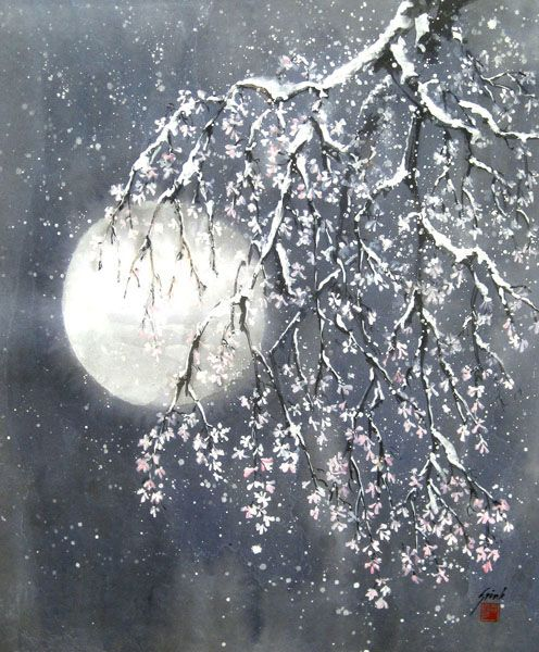 Cherries in the Snow by Frank Spink From the Sumi-E Society of America gallery.