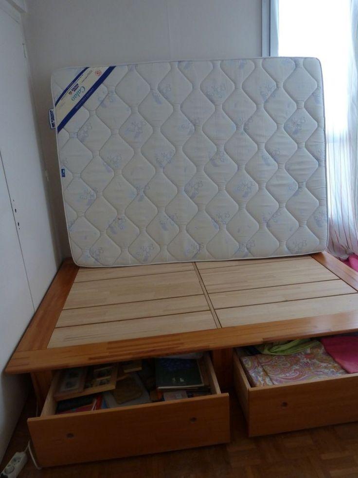 Annonce vente lit 2 personnes à 2 tiroirs beau lit en bois pour 2 occasion : meubles à vendre sur ParuVendu Mondebarras WB155698361