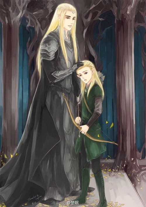 sigun-i-loki:Legolas and Thranduil by 楚眠 Not properly sourced. Any info welcome!