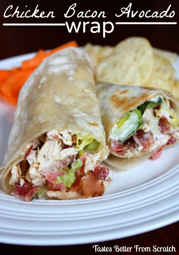 Chicken, Bacon, Avocado Wrap - I will eat just about anything inside a wrap...I LOVE WRAPS. This one ranks right up there near the top. Anything with avocado and bacon is a winner in my book. I didn't have tarragon so I used fresh cilantro instead. I wish it didn't fill me up so I could eat it again right now.
