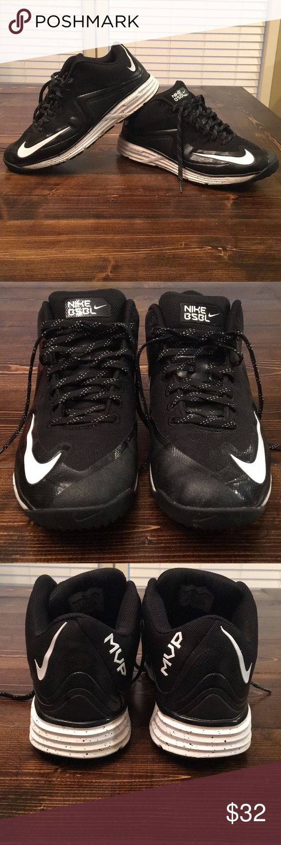 Men's Nike black BSBL turf shoes Worn, but in good condition! Small areas of dirt stain in areas of the creases on soles. Black splatter print on white sole. Nike Shoes Athletic Shoes
