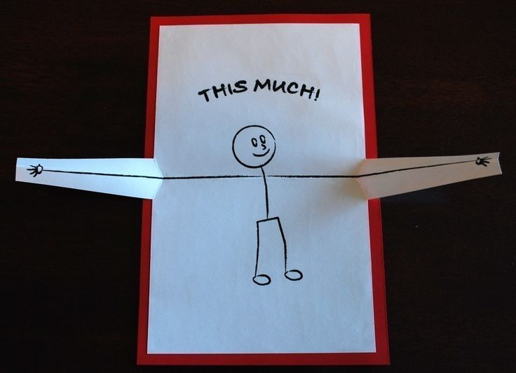 I Love You...This Much Pop-up Card. I could make this with my students. Love this gift card