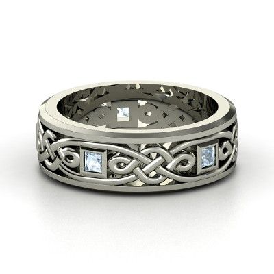 Celtic Knot Men's Wedding Bands | Men's 14K White Gold Ring with Aquamarine | Alhambra Knot Band ...