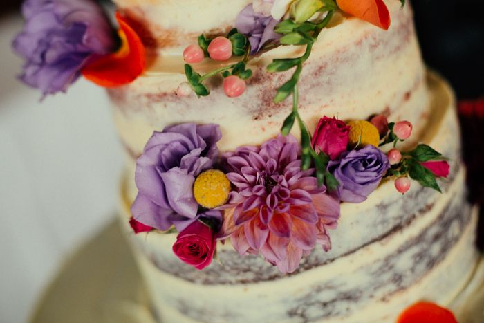 Floral naked cake captured by Sarah Godenzi @ Yarra Ranges Estate
