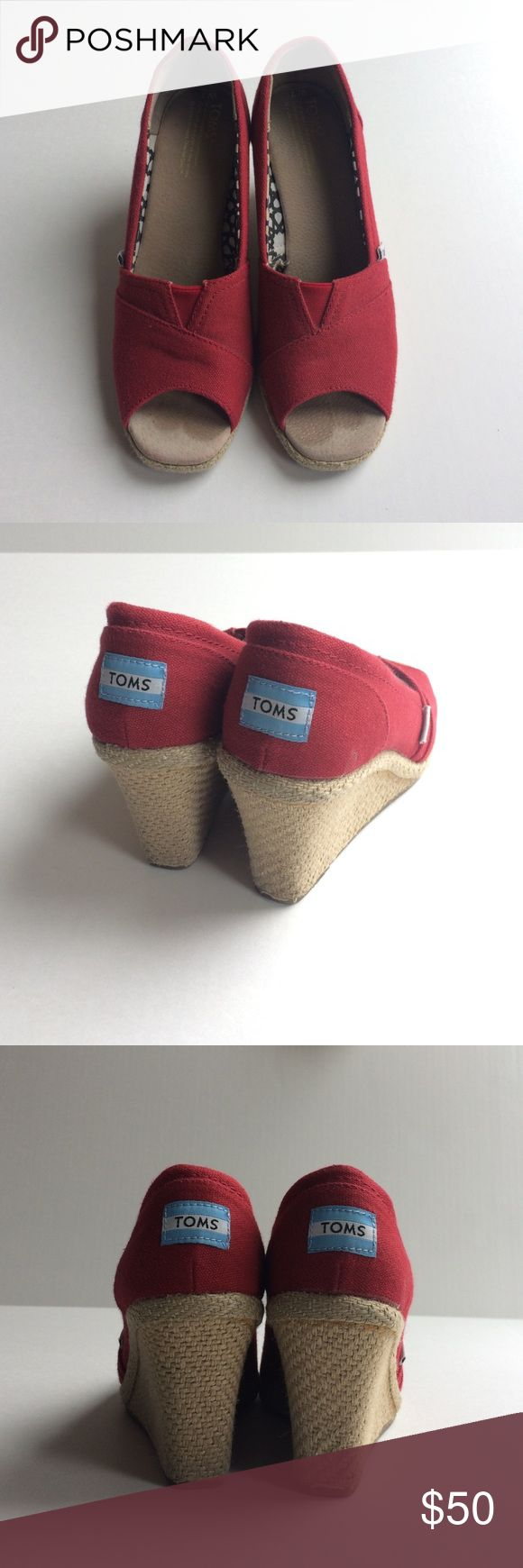 Toms Peep-Toe Wedges Red peep toe wedges in great condition. Worn a few times. Super comfortable! TOMS Shoes Wedges