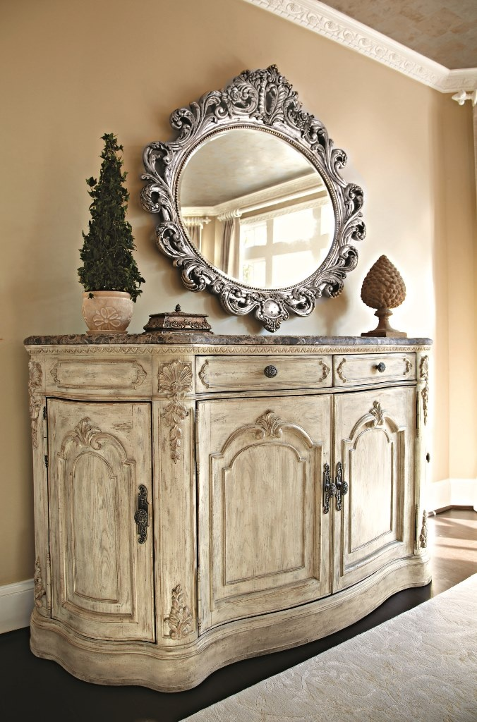 Jessica McClintock Boutique  Jessica McClintock Boutique Buffet w  Marble Top  Dining Room Table Sets  Bedroom Furniture  Curio Cabinets and Solid Wood